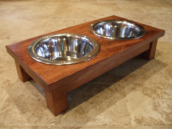 1 Quart 4 Inch Double - Ergonomically Designed Elevated Pet Feeder - Stained Red Oak