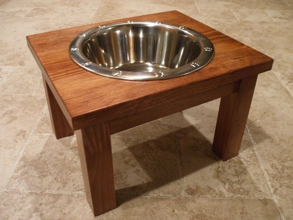 2 Quart 8 Inch Single - Ergonomically Designed Pet Feeder - Stained the Color of Your Choice