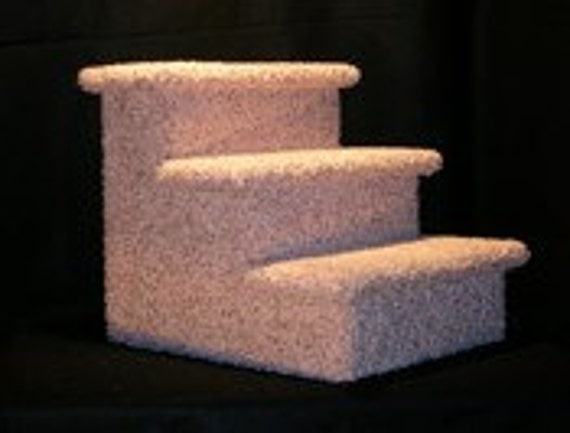 Pet Stairs - 3 Step - Dog Stairs - Dog Steps - Dog Stairs For Bed - Cat Stairs - Sturdy Pet Stairs - Carpeted Pet Stairs