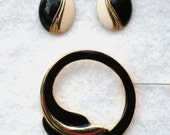 80s Vintage Black, Cream and Gold Enamel Brooch and Post Earrings
