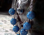 MAGELLAN - blue fossil beads and gunmetal necklace