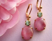 FREE Shipping, JOLIE, Vintage Pink Earrings, Mothers Day Gifts, Vintage Rhinestone Drop Earrings, Pink Moonstone, Estate Style