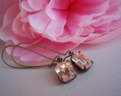 PIXIE, Blushing Bride, Blush Earrings, Mother's Day Gift, Pale Pink Rhinestone Earrings
