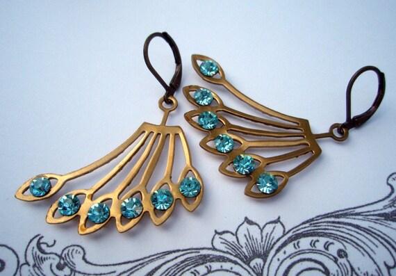 SWOOSH, Vintage Art Deco Earrings, Vintage Architectural Earrings, Brass Fan Earrings, Bridesmaids Gifts, Downton Abbey