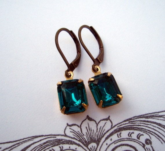 FREE Shipping, LAGOON, Vintage Teal Earrings, Teal Blue Earrings, Vintage Rhinestone Drop Earrings, Estate Style Earrings, Bridesmaids Gifts