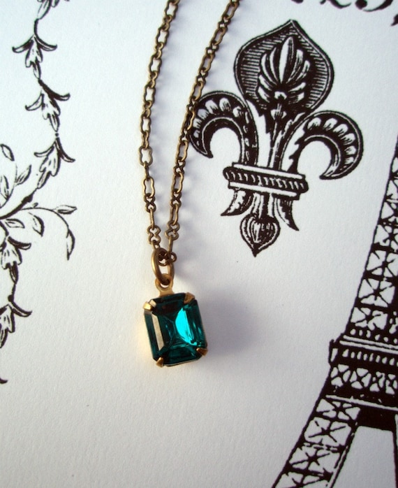 FREE Shipping, LAGOON, Vintage Teal Necklace, Pendant Necklace, Estate Style Necklace, Bridesmaids Gift, Easter Jewelry