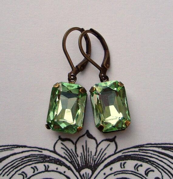 Vintage Jade Green Rhinestone Earrings, Wedding, Prom, Spring Summer Fashion, Office Fashion, EDITH