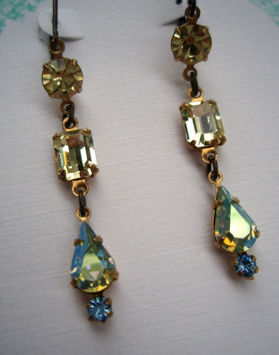 CORA, Downton Abbey, Vintage Pale Yellow Earrings, Rhinestone Drop Earrings, Bridesmaids Earrings