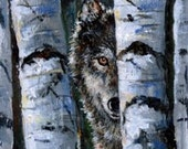 Original  Collectable ACEO Painting Grey Wolf And Birch Trees. Grey Blue Black  And White