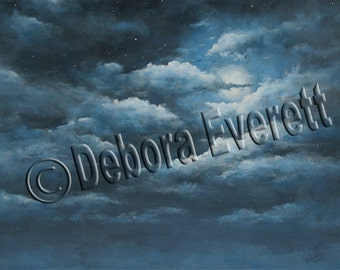 Original Twylight Sky Painting Modern Contemporary...Moonlight Sky, Blue Color