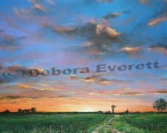 Original Sky Sunset-Sunrise Landscape Painting, Large Modern Contemporary, Blues Greens Orange