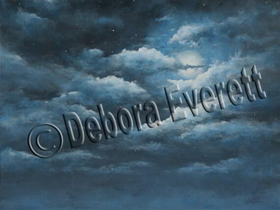 Original Twylight Sky Painting BIG SALE Modern Contemporary...Moonlight Sky, Blue Color