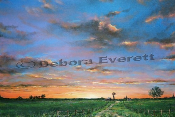 Original Sky Sunset-Sunrise Landscape Painting, BIG SALE Large Modern Contemporary, Blues Greens Orange