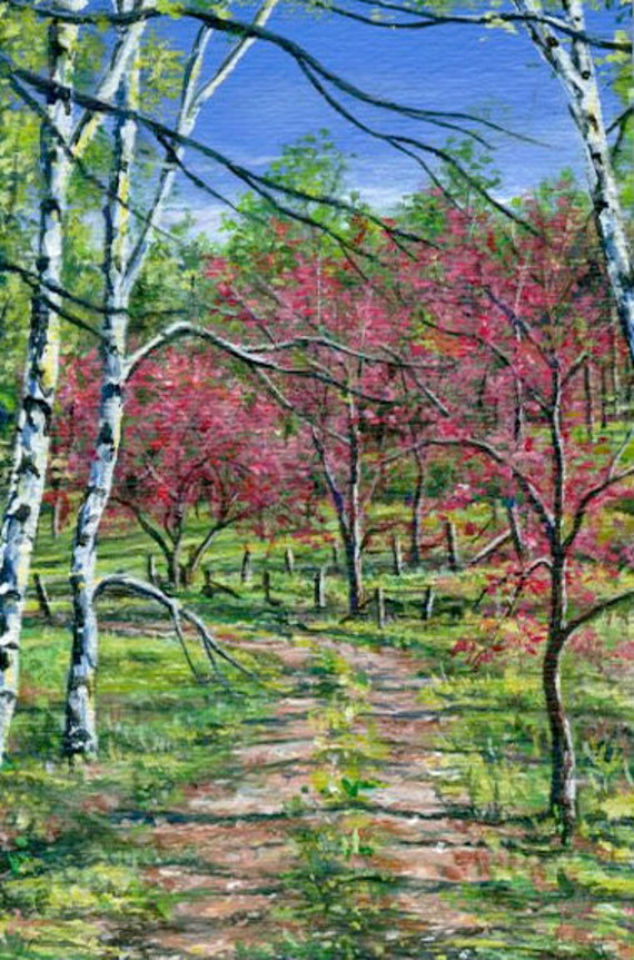 Original Landscape Tree Painting Of White Birch And Red Bud Trees With Path, Blue Green Red