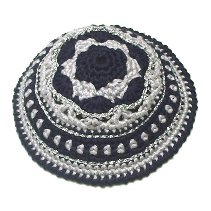 Crochet Patterns For Yarmulke : PATTERN for Festive Crochet Kippah Yarmulke