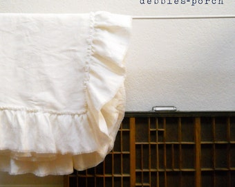 LILY...LINEN THROW...with frayed ruffle