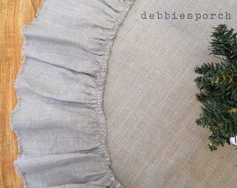 """Christmas Tree Skirt... Lilly...36"""" with 100% linen"""