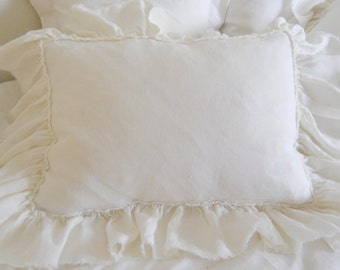 LILY...BED PILLOW...1 sham..with frayed ruffle