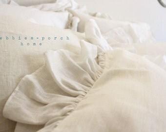 IVY...BED PILLOW ..1 sham with sheer linen hemmed ruffle