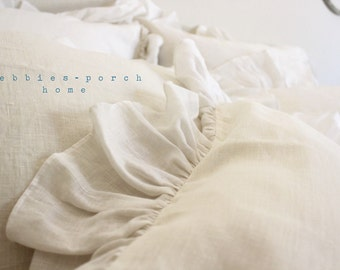 IVY.SQUARE SHAM..set of 3... with sheer linen hemmed ruffle.