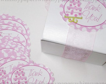 Pink Cake Thank You labels, set of 25