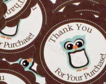 Little Blue Owl Scalloped Circle Thank You for Your Purchase Stickers - set of 50