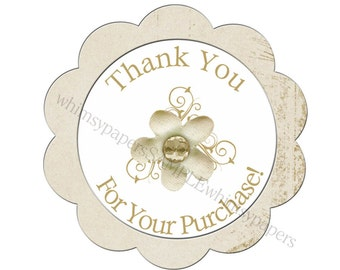 """Creamy White Flower """"Thank You for your Purchase"""" stickers - set of 50 scalloped circles"""