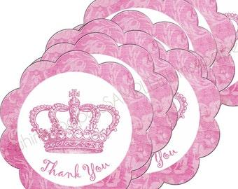 """Elegant Damask Pink Crown Scalloped Circle """"Thank You"""" Stickers - set of 50"""
