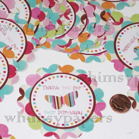 Polka Dots and Stripes Butterfly Thank You stickers - set of 100