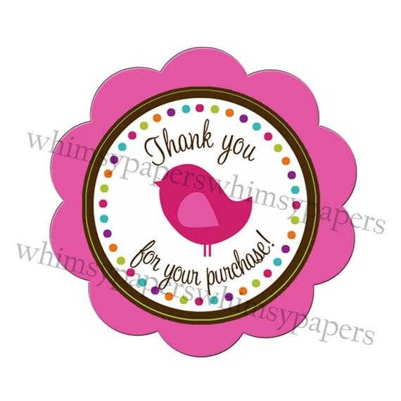 Pretty Bird Multi Dot Pink Scalloped Circle Thank You stickers - set of 50