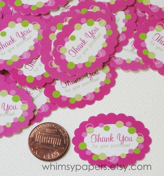 Thank You for your purchase - 50 Scalloped Oval Pink Polka Dot Stickers