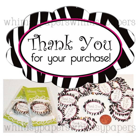 Thank You for your purchase - 50 Scalloped Oval Zebra Stripe Stickers