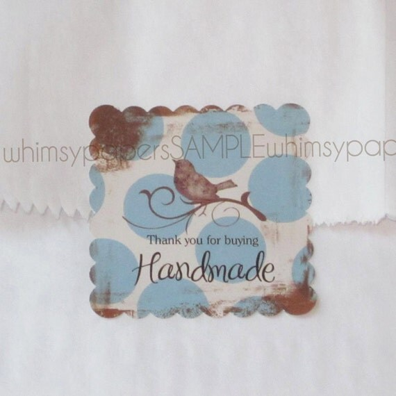 """Blue Polka Dot """"Thank You For Buying Handmade"""" Bird Stickers - set of 50 scalloped squares"""