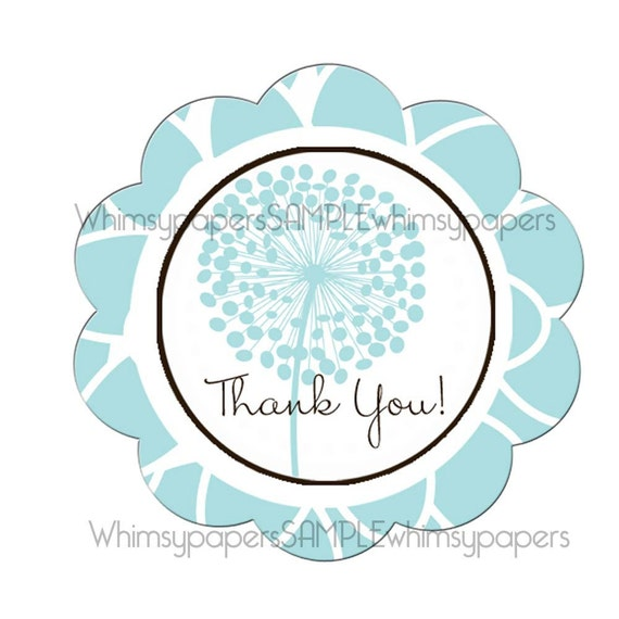 """Blue Mod Flower Scalloped Circle """"Thank You"""" stickers - set of 50"""