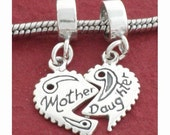 Sterling Silver Mother Daughter Charm Mom 925 for most Style Bracelets