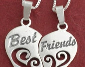 """Sterling Silver BEST FRIENDS Necklaces incl 18"""" CHAINS"""