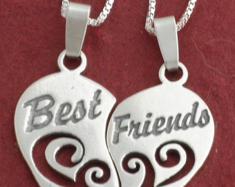 "Sterling Silver BEST FRIENDS Necklaces incl 18"" CHAINS"