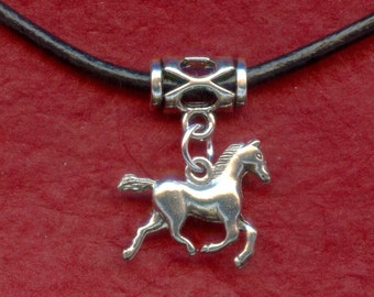 HORSE Necklace Silver Plated and Leather