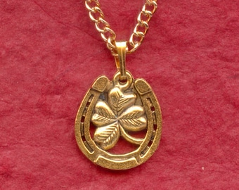 HORSE SHOE lucky four leaf clover NECKLACE Gold Plate