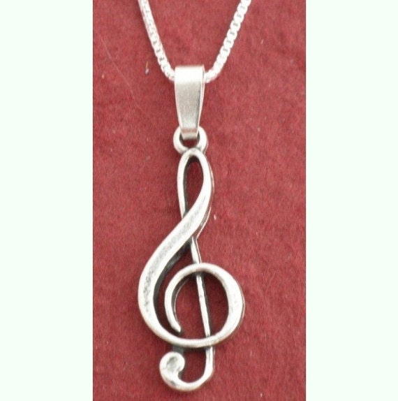 sterling silver treble clef necklace note 925