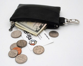 ReVelo Bike Inner Tube Zippered Coin Purse with a Metal Clip for Keys and attach to backpack or purse