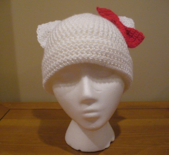 White Kitty Hat with Bow