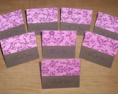 Set of 8 Mini Cards - Brown with Cranberry Print