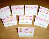 Set of 8 Mini Cards - White with Flamingos
