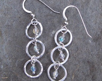 Fine Silver Crystal Drop Earrings