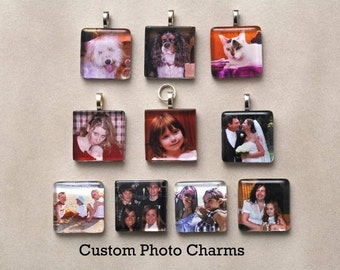 Custom Photo Charms Finished  With Silver Plated Chain, Key Chain, Purse Dangle, Bookmark or Kilt Pin