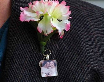 Wedding Bouquet or Boutineer Custom Photo Charm