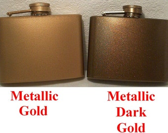 Ready To Ship! 4 oz Metallic Gold/Dark Gold Liquor Flask + FREE Flask Funnel, and In-Country Shipping! More Color Choice Listed Inside!