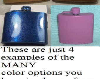 4 Ounce ANY Color Whiskey Flask Plus FREE Custom Lasering, Flask Funnel and In-Country Shipping