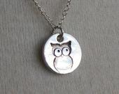 Fine Silver Owl Coin Necklace - READY TO SHIP